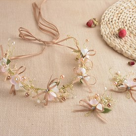 Elegant Alloy Faux Pearls/Ribbon Champagne Headbands & Hairpins