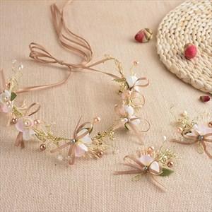 Elegant Alloy Faux Pearls/Ribbon Champagne Headbands & Hairpins