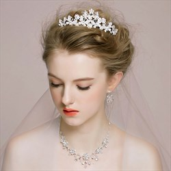 Elegant Rhinestone Imitation Crystal Tiaras & Earrings & Necklace
