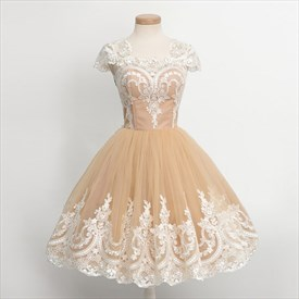 Pearl Pink Lace Applique Capped Sleeve Tea Length Cocktail Dress