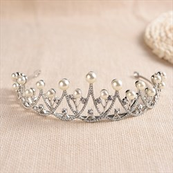 Elegant Alloy Rhinestone/Faux Pearls Wedding Tiaras