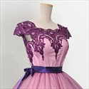 Pink Cap Sleeve Bowknot Waist Cocktail Dress With Lace Applique