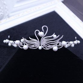 Exquisite Alloy Imitation Pearls/Rhinestone Bridal Tiaras