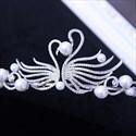 Exquisite Alloy Imitation Pearls/Rhinestone Bridal Tiaras