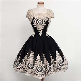 Black Cocktail Dresses With Ivory Lace Appliques And Cap Sleeves