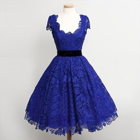 Royal Blue Lace Overlay Cap Sleeves Tea Length Cocktail Dresses