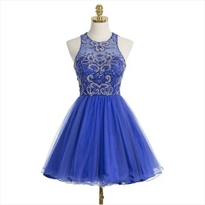 Royal Blue Sleeveless Back Keyhole Cocktail Dresses With Beaded Bodice