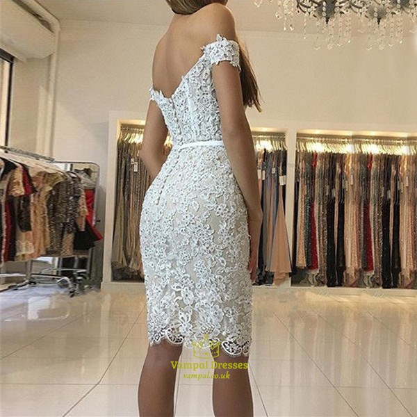 Champagne Lace V Back Off The Shoulder Sleeveless Homecoming Dress