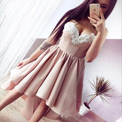 Pink Sweetheart High-Low Sleeveless Cocktail Dress With Lace Applique