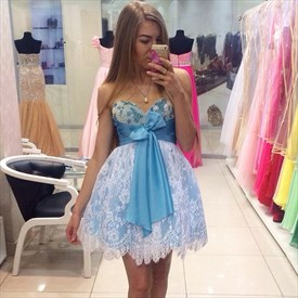 Blue Knee Length Homecoming Dress With Bead Neckline White Lace Overlay