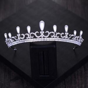 Luxurious Rhinestones Imitation Pearls Alloy Bridal Tiaras