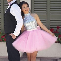 Pink Sleeveless Sequin Top High Neck Homecoming Dress With Bowknot
