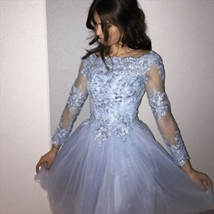 Lilac Long Sleeve Tea Length Homecoming Dresses With Lace Applique