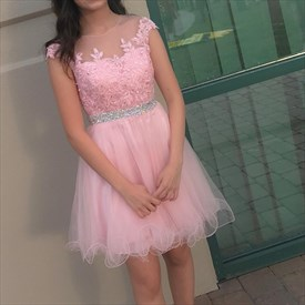 Pink Capped Sleeve Knee Length Homecoming Dresses With Beaded Waist
