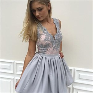 Grey Sleeveless V Neck Knee Length Homecoming Dress With Lace Applique