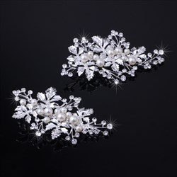 Imitation Pearls Alloy Leaf Barrettes (Set Of 2 Pieces)
