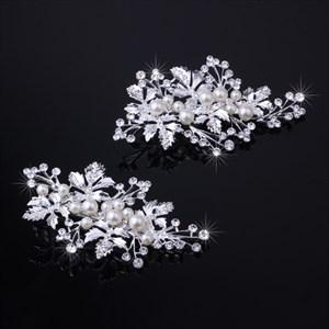 Imitation Pearls Alloy Leaf Barrettes (Set Of 2 Pieces)