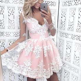 Light Pink Long Sleeveless Homecoming Dress With White Lace Overlay