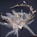 Beautiful Feather Golden Leaf/Faux Pearls Alloy Headbands