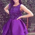 Violet Sleeveless Scoop Neck Homecoming Dress With Floral Pattern