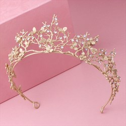 Elegant Alloy Rhinestones Golden Branch Tiaras