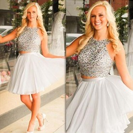 Silver Sleeveless Halter Two-Piece Homecoming Dress With Beaded Bodice