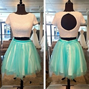 Short Sleeve Beaded Bodice Keyhole Back Homecoming Dress With Two Piece