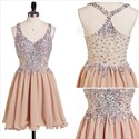 Pink Sleeveless Lace Top Bottom Homecoming Dresses With Beaded Bodice