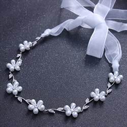 Elegant Zircon Artificial Silk Ribbon Bridal Headbands