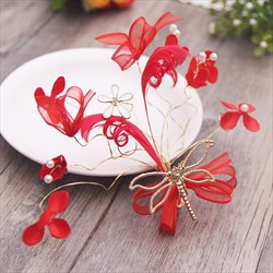 Exquisite Alloy Faux Pearls/Fabric Flower Red Barrettes