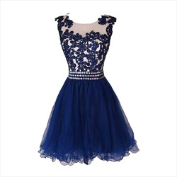 Blue Knee Length Homecoming Dress With Lace Applique And Beaded Waist