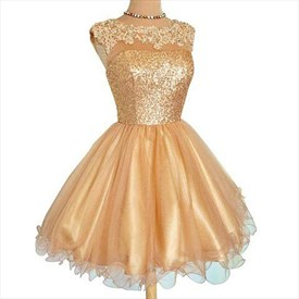 Champagne Cap Sleeve Keyhole Back Homecoming Dresses With Lace Applique