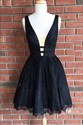Little Black Sleeveless Lace Homecoming Dress With Plunging Neckline