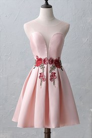 Light Pink Sleeveless Knee Length Homecoming Dress With Floral Applique