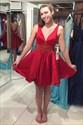 Red V Neck Sleeveless V Back Homecoming Dress With Beaded Waist