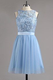 Light Blue Sleeveless Cut Out Back Homecoming Dress With Bowknot