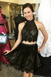 Little Black Lace Sleeveless Halter Homecoming Dress With Two Piece