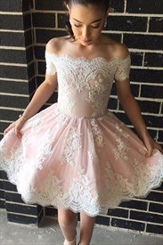 White Lace Short Sleeve Off The Shoulder Knee Length Homecoming Dress