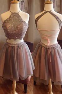 Chocolate Lace Up Beaded Bodice A Line Homecoming Dress With Two Piece