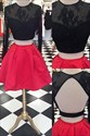 Black Lace Top Long Sleeve Two-Piece Homecoming Dress With Red Skirt