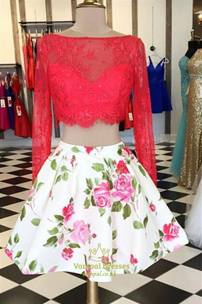 Red Lace Top Long Sleeve Two-Piece Homecoming Dress With Floral Pattern
