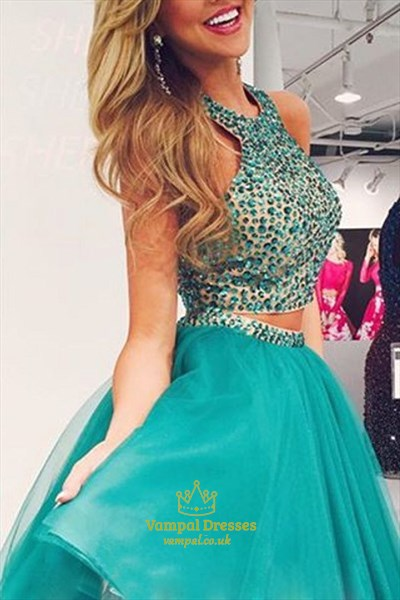 Blue Sleeveless Two Piece Halter Homecoming Dress With Beaded Bodice