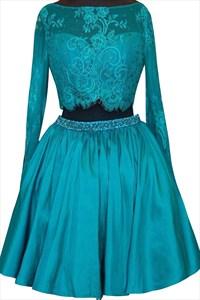 Blue Long Sleeve Two Piece A Line Homecoming Dress With Beaded Waist