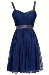 Navy Blue Sleeveless Knee Length Homecoming Dress With Beaded Waist
