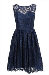 Navy Blue Sleeveless Illusion Neckline Knee Length Homecoming Dress