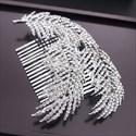 Exquisite Rhinestone Alloy Silver Leaf Bridal Hair Comb