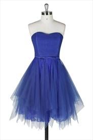 Royal Blue Strapless Sleeveless Knee Length A Line Homecoming Dress