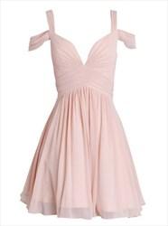 Light Pink Chiffon Sleeveless Knee Length A Line Homecoming Dress
