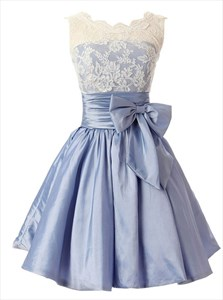 Light Blue Lace Applique Homecoming Dress With Bowknot Embellished