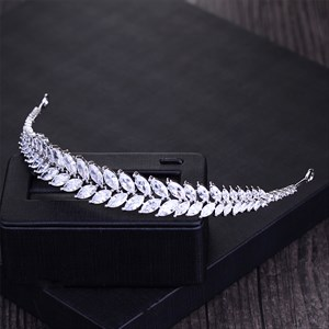 Elegant Zircon Alloy Silver Leaf Bridal Headbands